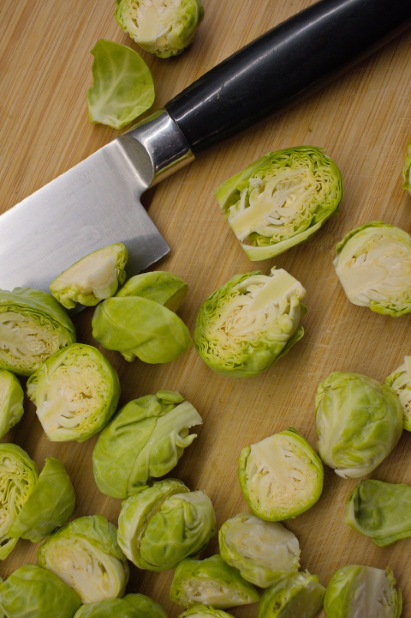 Preparing Brussels sprouts