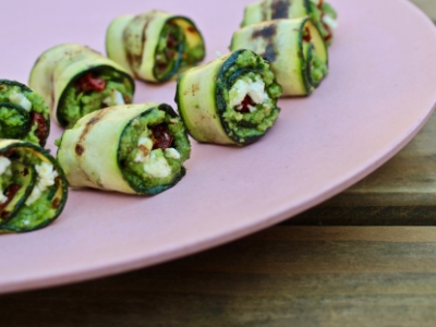 wild garlic pesto courgette rolls