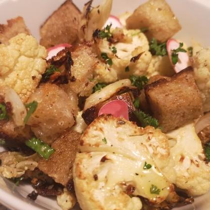 Roast cauliflower and bread salad