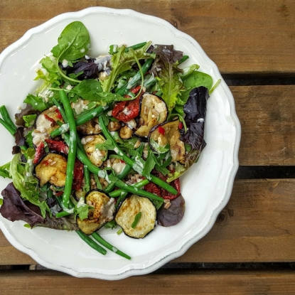 French Beans, Aubergine and Pearled Spelt Salad