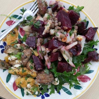beet celeriac lentil salad