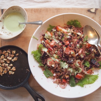 Roast beet & quinoa salad with sorrel dressing