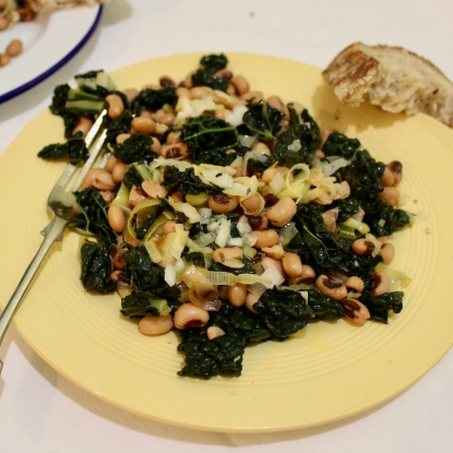 Black eyed beans with cavalo nero and leek