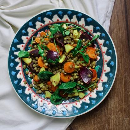 carrot parsnip lentil salad
