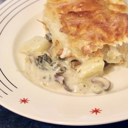 Cheesy mushroom potato kalette pie