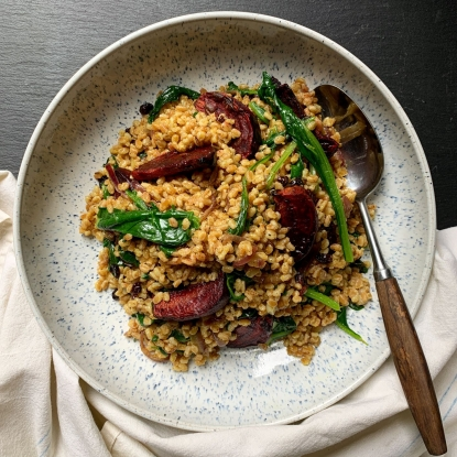 Spiced Pearled spelt with roast beetroot and spinach
