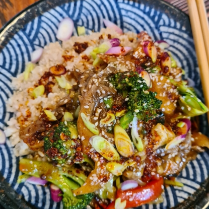 Vegan Oyster Mushroom & Broccoli Stir Fry