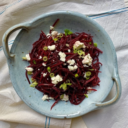 warm carrot salad with goats cheese