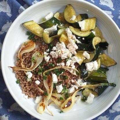 spring onion courgette feta salad