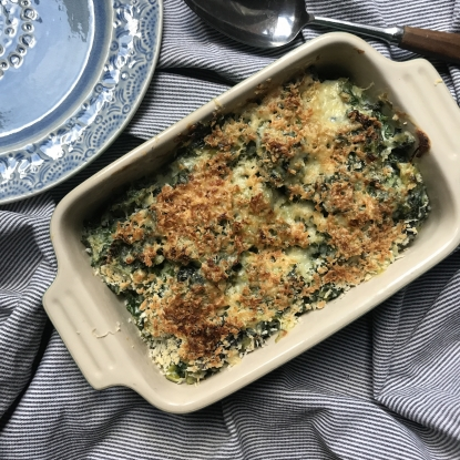 creamed kale and leek gratin