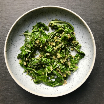 sauteed greens with chilli and coriander