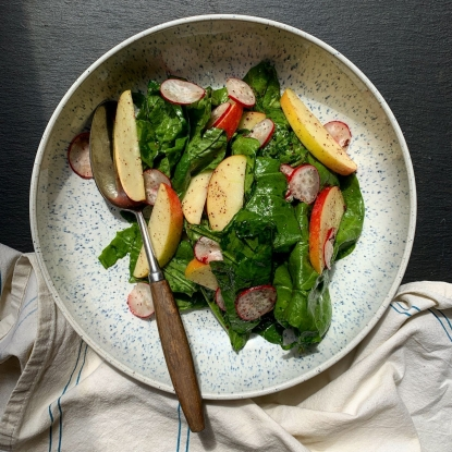 Spinach, apple, radish & sumac salad