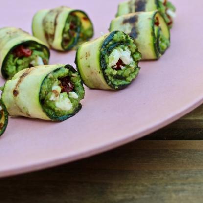 wild garlic pesto courgette rolls